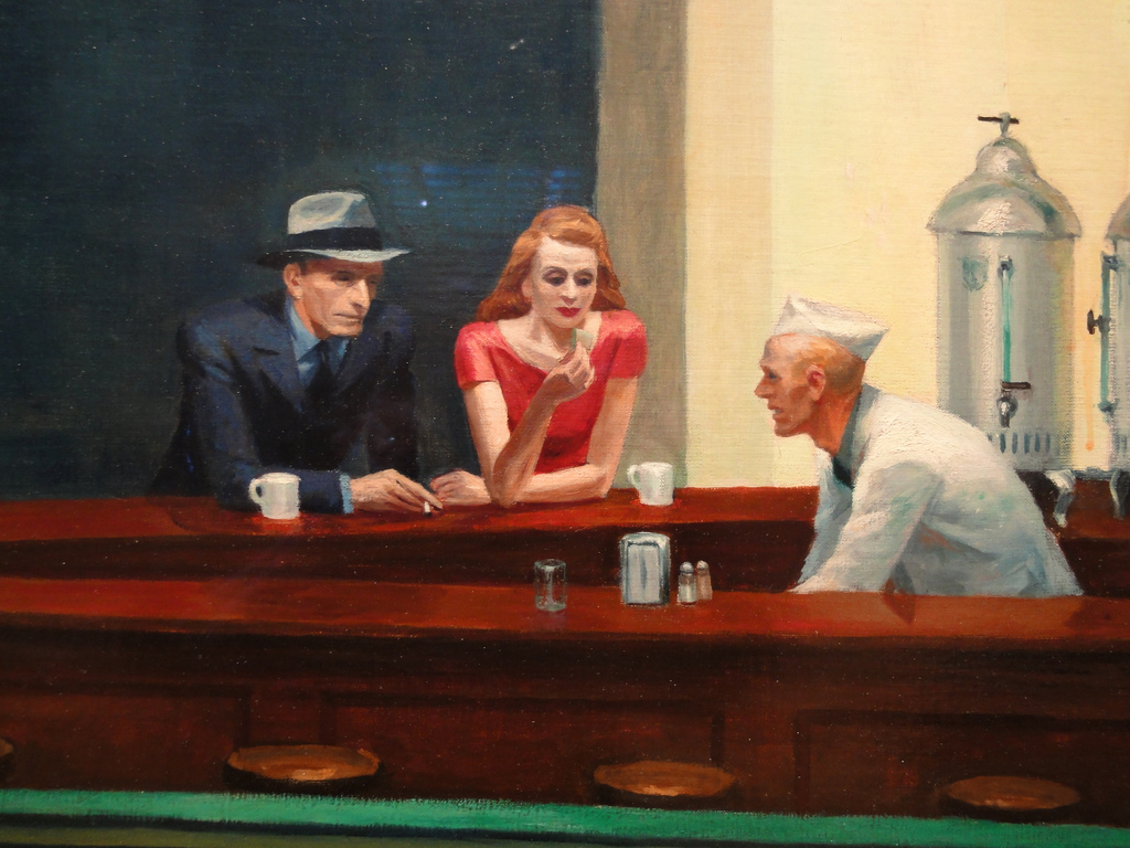 Chicago Art Institute: Nighthawks detail, Edward Hopper by Jim Forest
