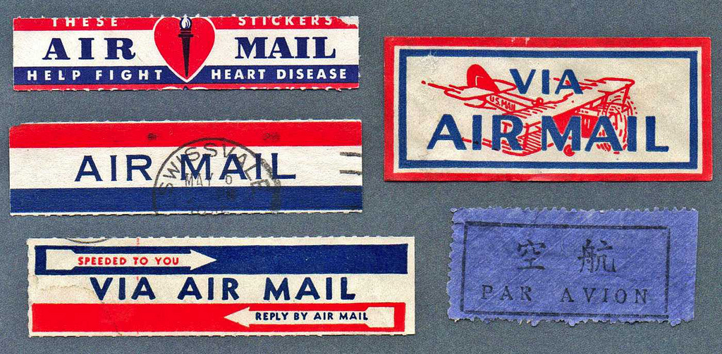 Air Mail Labels by Wackystuff.