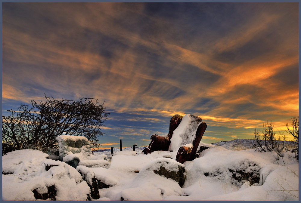 Snow covered desert living-room by Charles Knowles.